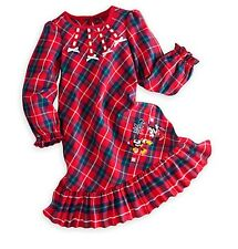 Disney Store Minnie & Mickey Mouse NightGown Plaid Pajamas Girls Size 9/10 Large