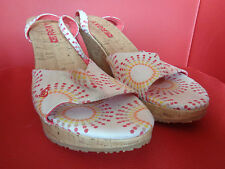 Roxy Ladies Canvas and cork summer wedge shoes - UK size 8 - Fast postage