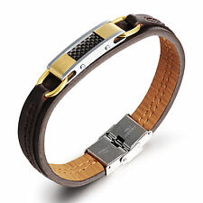 New Fashion Stainless Steel Men's Genuine leather Clasp Bracelet bangle 8''