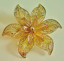 ANCIEN Broche filigrane argent dore Filigree Sterling silver gilt Brooch ANTIQUE