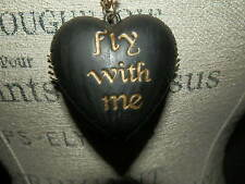 Betsey Johnson pendant Fly with Me Reversible Black Side and Leopard Wing Side