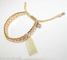 NEW-MICHAEL KORS ROSE GOLD WATCH LINKS+SILK ADJUSTABLE TAN ROPE BRACELET MKJ2052