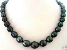 New NATURAL 9-10MM TAHITIAN RICE BLACK PEARL NECKLACE 18""