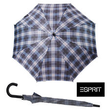 ESPRIT ANTIVENTO Check Blu Ombrello IN ALLUMINIO Leggero Albero Ombrello Da Golf