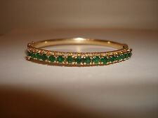 VINTAGE UNIQUE COLLECTIBLE 14K  YELLOW GOLD EMERALDS  BANGLE OVAL BRACELET