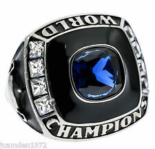 World Champions Men's Ring Blue Sapphire Simulated Stainless Steel Size 10