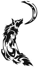 (Nr36) TRIBAL FIRE FLAME HOWLING MOON WOLF DECAL VINYL STICKER LAPTOP HOOD CAR