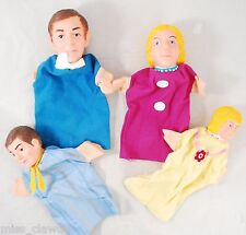*Set of 4 Family Hand Puppets* Vintage Handmade Puppet Theater Fabric & Plastic
