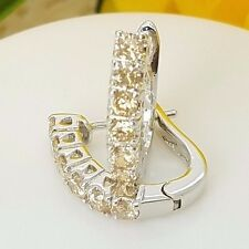 New Sterling Silver Huggie Style Pave Set CZ Crystal Brown Latch Back Earrings