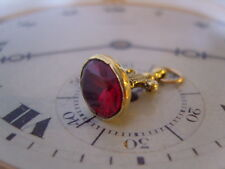 SUPERB VICTORIAN STYLE GILT & RED STONE SET ORNATE POCKET WATCH CHAIN FOB.