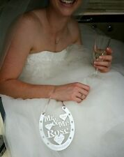 WEDDING DAY GIFT , BRIDE AND GROOM HORSE SHOE  PERSONALISED WITH YOUR TEXT