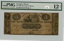 Obsolete $3 Macon, Ga (#1116) Pmg F12 Net (Rust) Carefully Check out the Photos