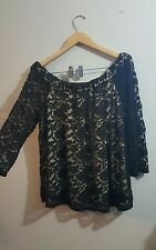 Plus 3X black lace off the shoulder top open wide neckline lined + torrid gift