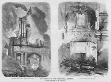 FRANCE Burning of the Cathedral at Cambrai - Antique Print 1859