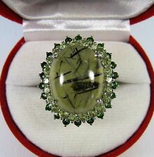 20.99 CTW RUTILATED PREHNITE, PERIDOT & CHROME RING #6.5 - WHITE GOLD/925 SILVER