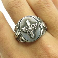 Uncas Atq WWII Sterling Silver US Air Force Military Men's Signet Ring Size 10