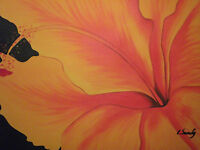 orange abstract flower large oil painting canvas floral contemporary original