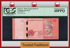 """TT PK 53 2012 MALAYSIA 10 RINGGIT """"TUNKU ABDUL"""" """"RAFFLESIA"""" PCGS 68 PPQ SUPERB!"""