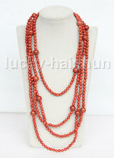 "length 100"" natural round red sponge coral necklace j11628"