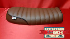bs9 BROWN BRAT / SCRAMBLER STYLE CAFE RACER SEAT WITH BLACK PIPING LEATHERETTE