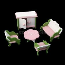 Wooden Doll House Living Room Sofa Table Furniture Kid Role Pretend Play Toy