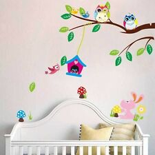 Owl Flower Tree Removable wall sticker DIY Decal Mural For Kid Baby Room Decor