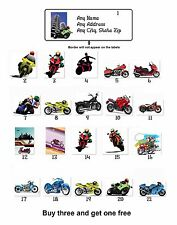 30 Personalized Return Address Motorcycles Bikers Labels Buy 3 get 1 free (mb2)