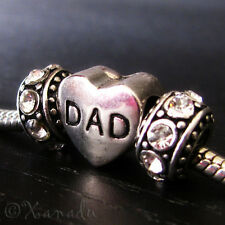 Dad Heart Shaped Large Hole Bead And Birthstones For European Charm Bracelets