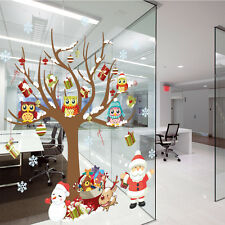 Removable Christmas Window Home Wall Decal Mural Stickers Owls Gift Tree Kids