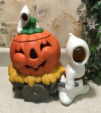 "Vintage Rare Glenview Mold Ghost Pumpkin Cart Wagon 11"" Ceramic Candy Halloween"