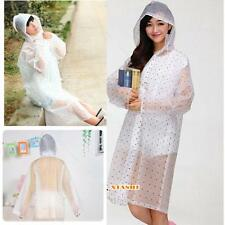 Women Girls Hooded Dot Raincoat A# Poncho Outdoor Waterproof Rain Jacket Coat