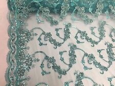 Sea Foam 3D Flowers Ribbon Embroider With A Metallic Tread On A Mesh Lace Fabric