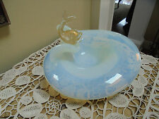 MURANO Salviati /Barbini Opalescent Venetian Clamshell Bowl Gold Flecked Fish