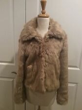 EXPRESS Womens Faux Fur Short Coat /Jacket Beige Size Medium