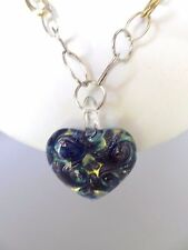 ITALIAN MURANO  HEART Hanging On 925 14K Necklace 18 Inches
