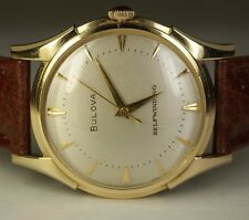 1953 Bulova 14K Yellow Gold Selfwinding 17J L3 10CSC Vintage Swiss Watch Leather