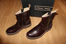 NEW BNWT CLARKS NORTON MELLOR ZIP BROWN LEATHER BOOTS GOODYEAR WELTED UK 8 MENS
