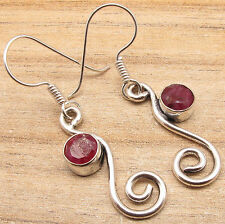 925 Sterling Silver Overlay Red RUBY Earrings ! Gossip Girls Latest Fashion 2016