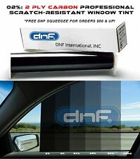 "DNF 2 PLY Carbon 2% 60"" x 100 FT Window Tint Film - LIFETIME WARRANTY GUARANTEE!"