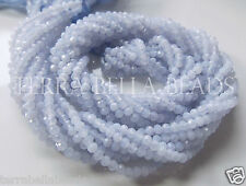 "13"" strand natural blue CHALCEDONY faceted gem stone rondelle beads 2.5mm - 3mm"