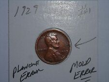 1929 MOULD MARK ,NICE PLANCHET ERROR 1929-P LINCOLN CENT LOT #1 LAMINATED ERROR