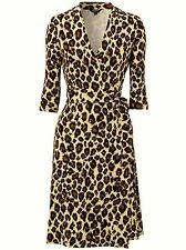 HOBBS JESSICA CREAM BROWN BLACK LEOPARD ANIMAL PRINT WRAP DRESS NWOT SIZE 10