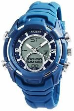 Akzent Double Time XXL Herrenuhr mit Silikon Armband Analog - Digitaluhr Blau