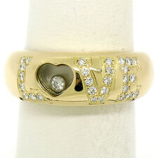 100% Authentic Chopard 18K Yellow Gold LOVE .40ct Happy Diamond Band Ring Sz 7.5