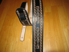 CUSTOM MADE LEATHER GUITAR STRAP BLACK/NATURAL LEATHER WITH YOUR NAME 2 1/2 WIDE