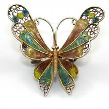 Fine Silver 800 Multi Color Enamel Filigree Butterfly Pin Brooch Sterling STA1