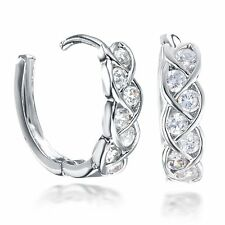 White Gold Filled Infinity Created Diamonds Huggie Hoop Diamond Earrings 072