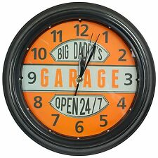 "Big Daddy's Garage Clock W/ LED Lights, 12"" Round, Man Cave Bar Home Wall Decor"
