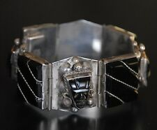 """VINTAGE """" MEXICO """" STERLING SILVER 925 SIGNED E.ORTIZ Ca.1940 BRACELET MEXICAN"""