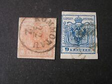 **AUSTRIA, SCOTT # 3+5, 2kr+9kr VALUES 1850 COAT OF ARMS ISSUE USED